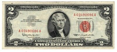 ✯ 1963 Two Dollar Note Red Seal ✯$2 Bill ✯US CURRENCY✯OLD MONEY✯