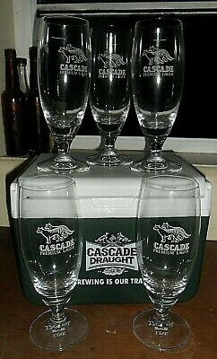 CASCADE BEER GLASSES (6) 320mls with THYLACINES. *Cascade ESKY Used Clean Vgc.