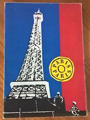 Vintage 1950's Paris Tourist Map - Street Plan, Points of Entry & Metro
