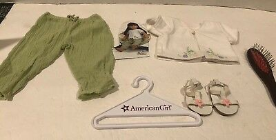 American Girl, Wood Handled Hairbrush and Breezy Day Outfit + Hanger EUC!