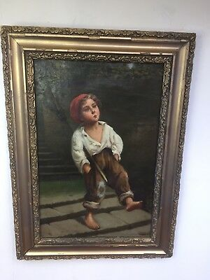 19th Century Oil Painting chimney Sweeper in Antique Gilt Gesso Frame