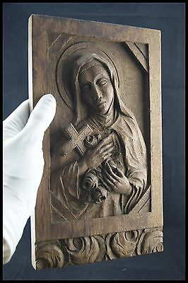 † ST THERESE of LISIEUX WOOD HANDCARVED FRENCH TABERNACLE PANEL SANTA TERESIA †
