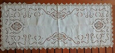 Antique Lace Trim Cutwork Hand Embroidered Ornate Table Runner