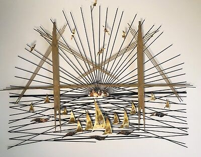 BERTOIA MCM Metal Brass Copper Wire SF Golden Gate Bridge Skyline Art Sculpture