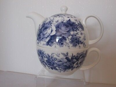 "Roy Kirkham Blue And White ""english Chintz"" Tea For One With Cup Bone China"
