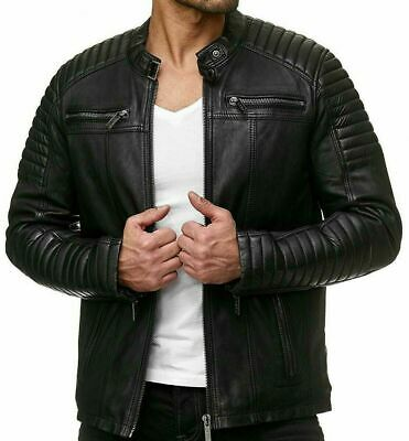 Mens Vintage Cafe Racer Black Genuine Leather Slim Fit Real Biker Jacket