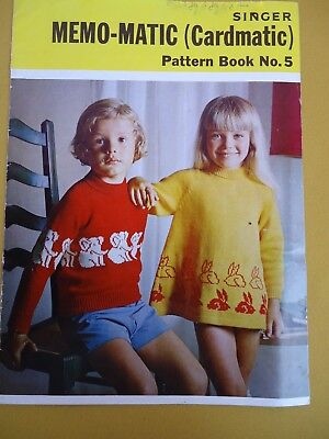 Singer Memo-Matic Knitting Machine Pattern Book  No 5 Kids Jumpers Cardys  #5931