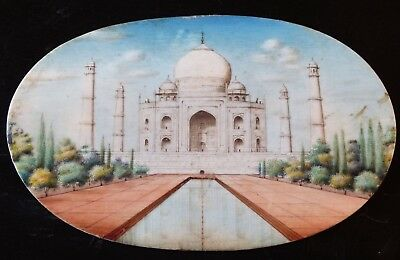 RARE Large Antique 19th Century Anglo Indian Miniature Painting - Taj Mahal