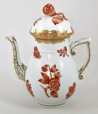 """Herend Porcelain Fortuna/queen Victoria Rust Vboh 5"""" Coffee Pot 480 1St Mint!"""