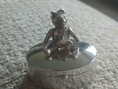 Hallmarked Sterling Silver - Oval TEDDY BEAR TOOTH FAIRY BOX