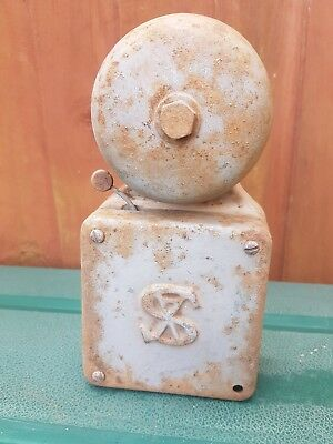 vintage SX   industrial cast iron bakelite ekectrical fire alarm bell