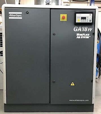 Atlas Copco GA18+FF Rotary Screw Compressor With Filters & Dryer 18.5Kw, 115Cfm!