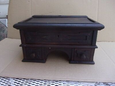 Small Victorian Antique Walnut Writing Desk With 3 Drawers