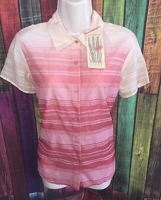 150dc8853b3b7 womens PL button down casual top shirt blouse short sleeve lemon grass NWT   38
