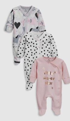 BNWT Next Baby Girl 18-24 Months Sleepsuits Pack Of 3 Pink Unicorn Slogan
