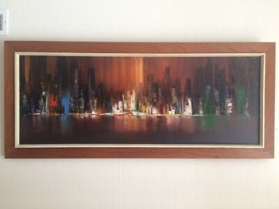 HUGE over 4ft long Vintage Mid Century CITYSCAPE Oil Painting 1960's Signed