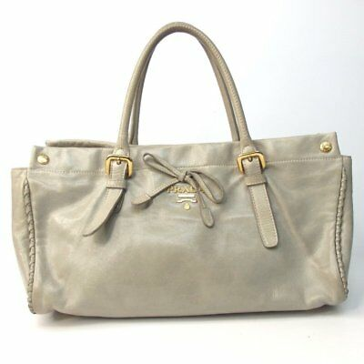 fb9a0f68e83 PRADA TWO TONE Ivory Gold Tessuto Nylon Quilted Leather Tote Winter ...
