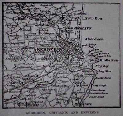L@@K! Antique 1922 World Atlas Map of Aberdeen, Scotland and Environs Post WWI