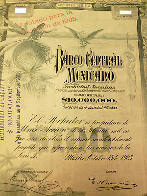 """Banco Central Mexicano  Share certificate 1903 """"blueberry"""" uncancelled"""
