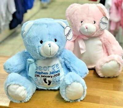 Personalised Teddy Bears, Embroidered, Pink-Blue,Birthday-New baby Gift-Boy-Girl