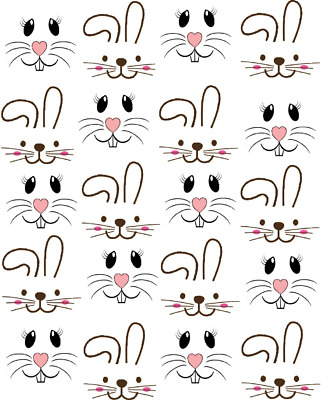 2 inch Bunny Faces  Waterslide  Craft ( wood- ceramic- ornaments) Decals