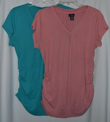 c8fce13b8f1fc 2 Oh Baby by Motherhood Maternity Tops, V-Neck, Cap Sleeves Pink Blue