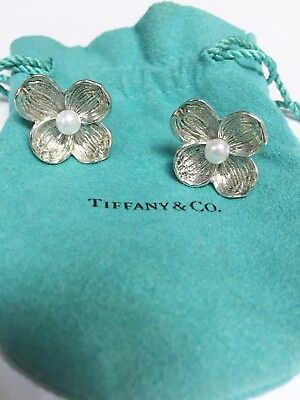 Stunning Authentic Tiffany & Co. Sterling Silver & Pearl Flower Earrings!!