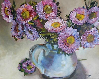 Original Painting Oil on Gesso Panel Asters in a Pitcher