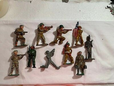 10 Vintage Soldiers, Lot, Variety, Rifle, Flag, Lead Toy Dimestore, GUC
