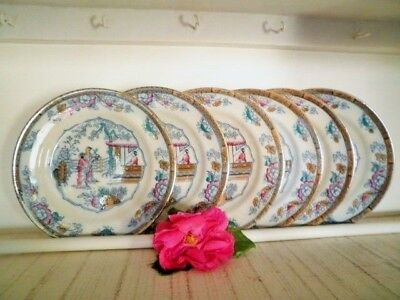 Antique Entree Plates X6 Gildea & Walker C1881-85 Chinoiserie Chinese Pagoda**