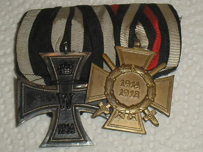 MEDAL WW1 GERMAN GROUP OF 2 MEDALS - IRON CROSS 2ND CLASS + CROSS OF HONOUR (m8)