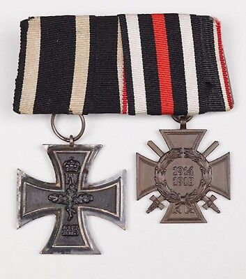 Medal Ww1 German Group Of 2 Medals - Iron Cross 2Nd Class + Cross Of Honour (11)