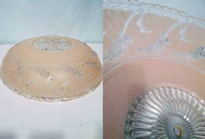"""Vtg 40s DECO Glass Round Pastel Pink Ceiling Light Fixture Bedroom 14.25"""" Shade"""