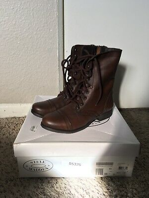 9a2a4786ae9 STEVE MADDEN TROOPA Women's Brown Leather High Lace Up Combat Boots Sz 6 💖