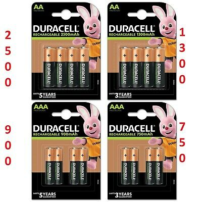 4x NEW Duracell AAA OR AA 750 mAh 900/1300//2500 mah Rechargeable Batteries HR03