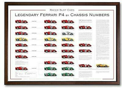 Racer POP4A Poster Legendary Ferrari P4 by Chassis Numbers