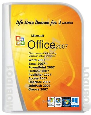 Microsoft Office 2007  for Windows 10 & 7 Word Excel PowerPoint Etc. 3 User