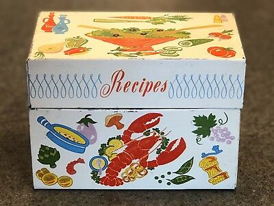 Vintage Classic Recipe Card Holder Box - World Famous Ohio Art Lobster - Recipes