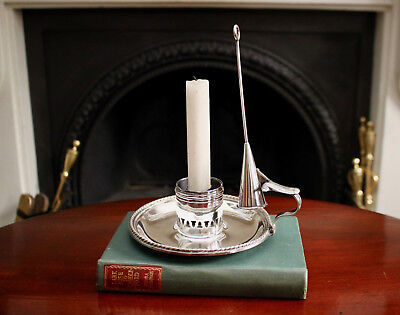 A Smart Antique Silver on Brass Chamber Stick with Snuffer