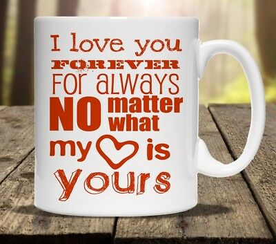 I LOVE YOU FOREVER ALWAYS PERSONALISED MUG cup tea ADD ANY NAME valentines gift
