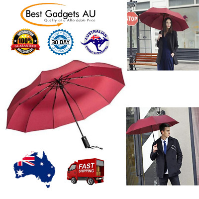 Compact Portable 10 Rib Strong Windproof Travel Umbrella Auto Close Open Red NEW