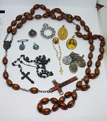 Vintage Lot Sterling Silver Enamel Guilloche Catholic Religious Medals Rosaries