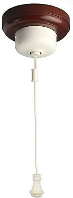 White Ceiling Pull Cord Switch - Powder Coated Cover with White Cord 54 WHCS