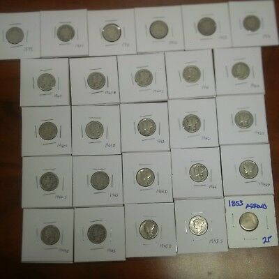 Silver dime coin lot Mercury dimes Barber dimes Seated Dime!! 26 in Total!!