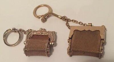 Vintage Gold tone Mesh Coin Purses with Key Chain