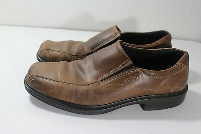 836126935e1 Ecco Men s Brown Leather Loafer Stable Balance Slip On Comfort Shoe Sz 45