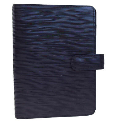 Auth LOUIS VUITTON Agenda PM Day Planner Cover Epi Leather Black R20052 01EC463