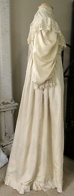 Exquisite Antique Empire Victorian Cream Silk Grosgrain & Lace Wedding Dress