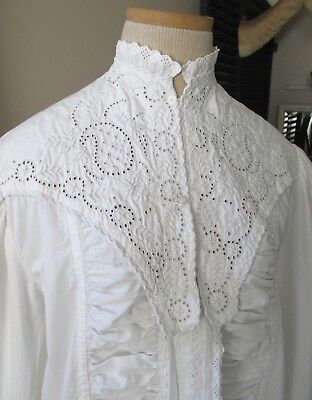 Superb Antique Victorian Hand Embroidered Demi Train White Cotton Morning Robe
