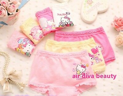 3x Kid Girls Hello Kitty Cotton Underwear Undies shorts Panties Bottoms set 2-12